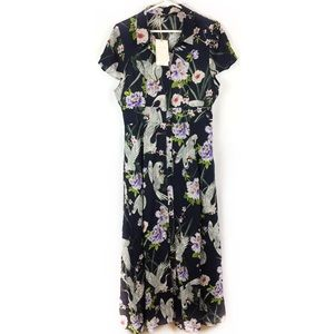Zara Collection Bird and Floral Print Maxi Dress.